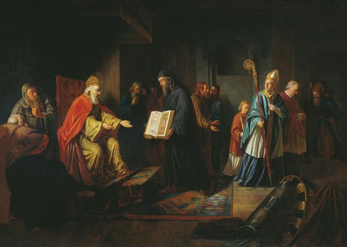 И. Е. Эггинк. «Великий князь Владимир выбирает веру». 1822. Фото: wikipedia.org