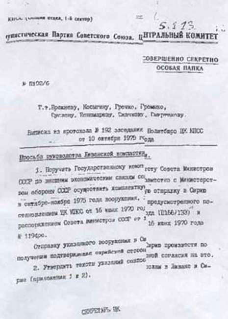 Документ из секретных архивов Политбюро ЦК КПСС
