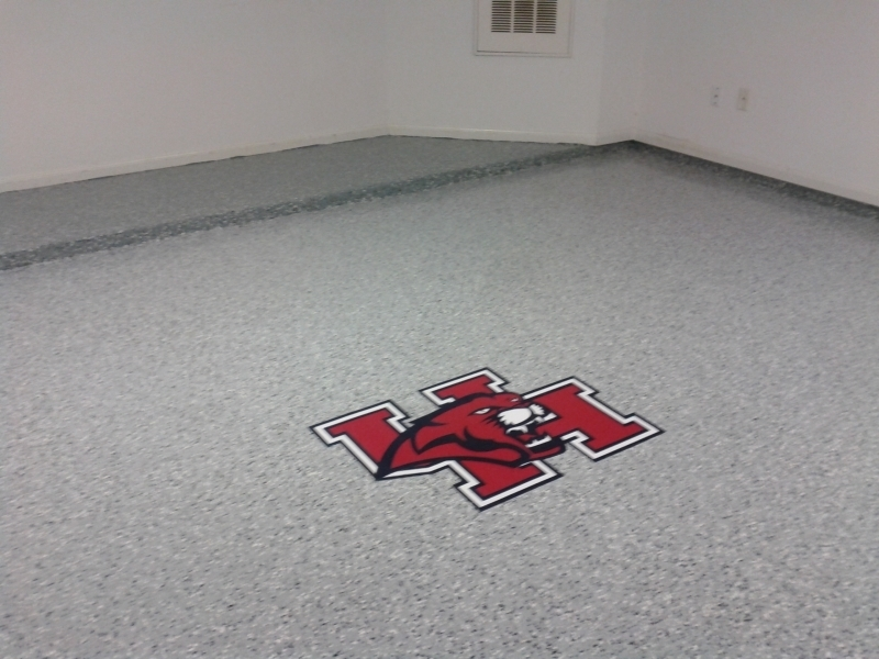 Custom Decals in Epoxy Flooring in Houston TX