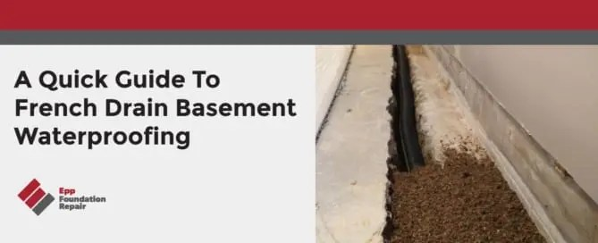 Photo of a French drain in a basement floor.
