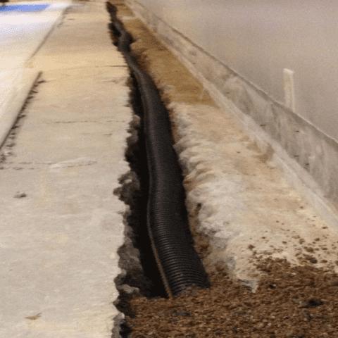 photo of interior drain tile installtion