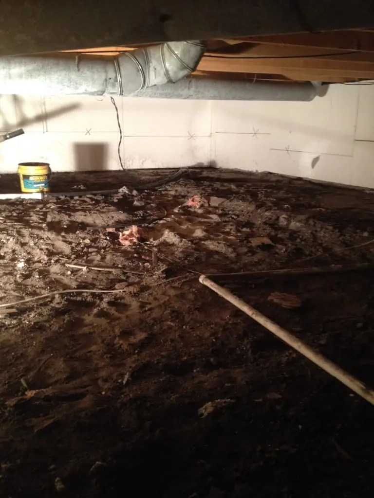 photo of a damp, musty crawl space