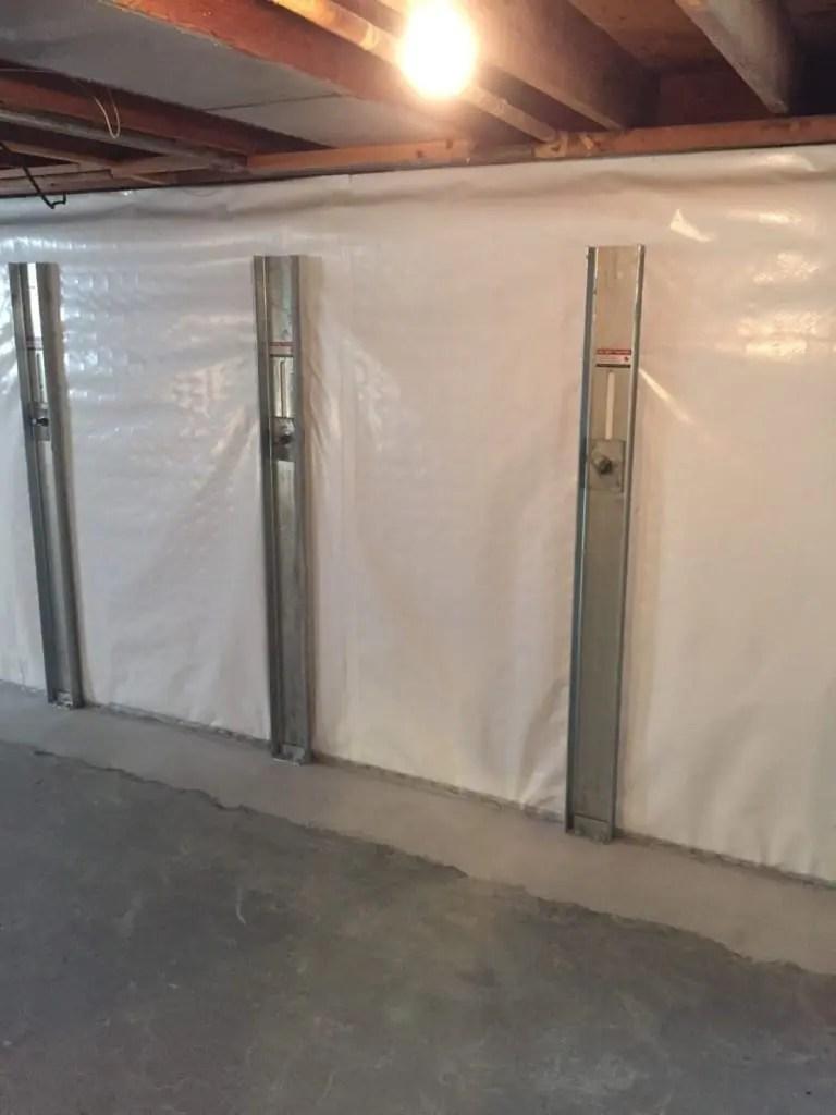 Photo of basement wall repair
