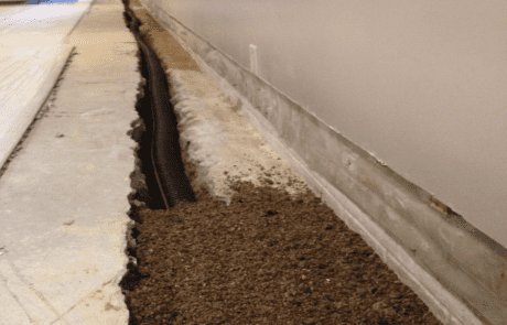 Photo of an interior drain tile system
