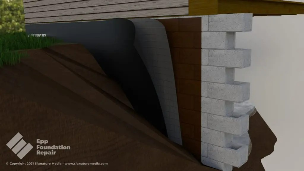 Illustration of a foundation waterproofing membrane