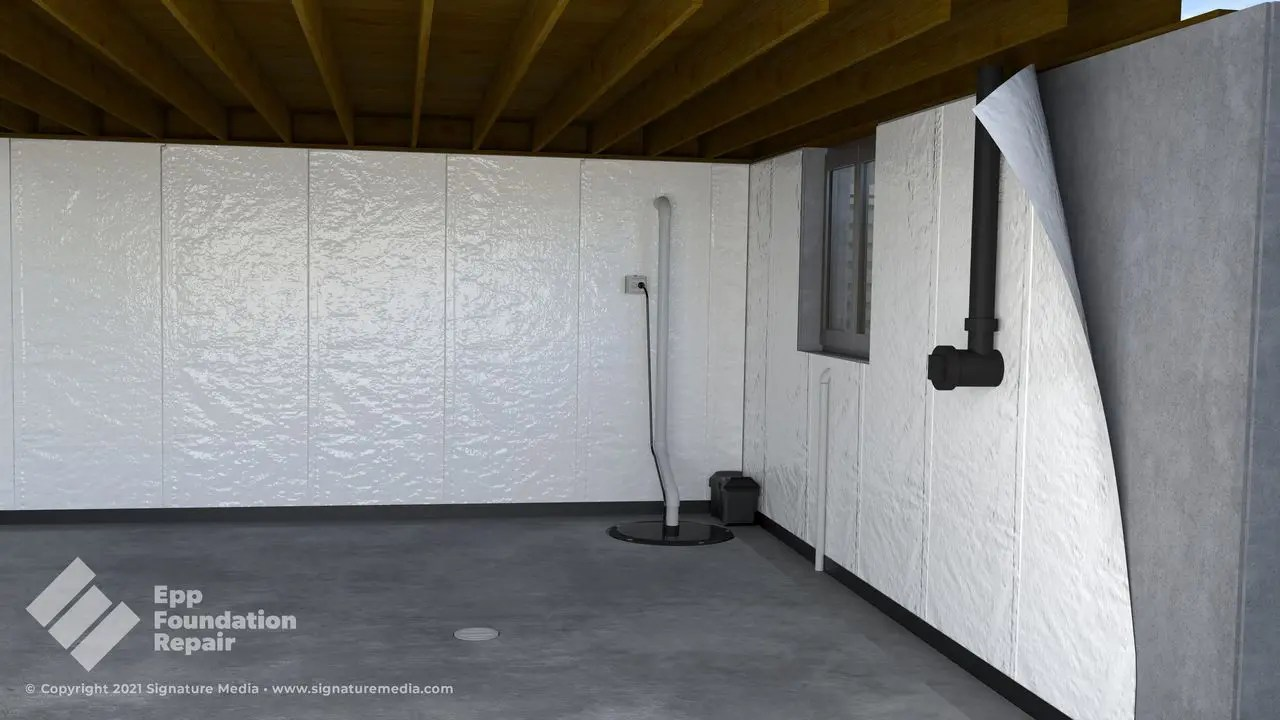 basement with vapor barrier
