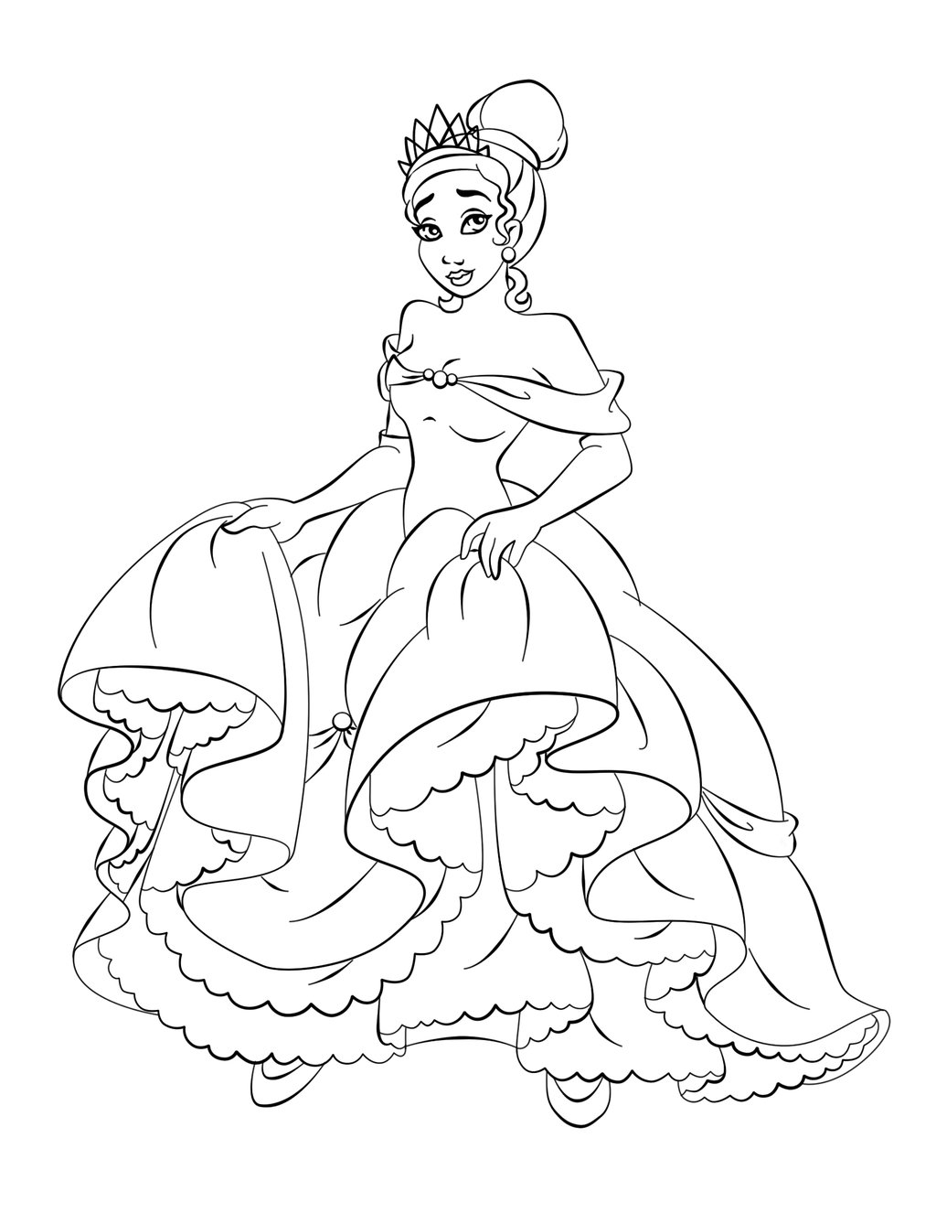 Beautiful Princess Tiana Free Printable Coloring Pages For Kids