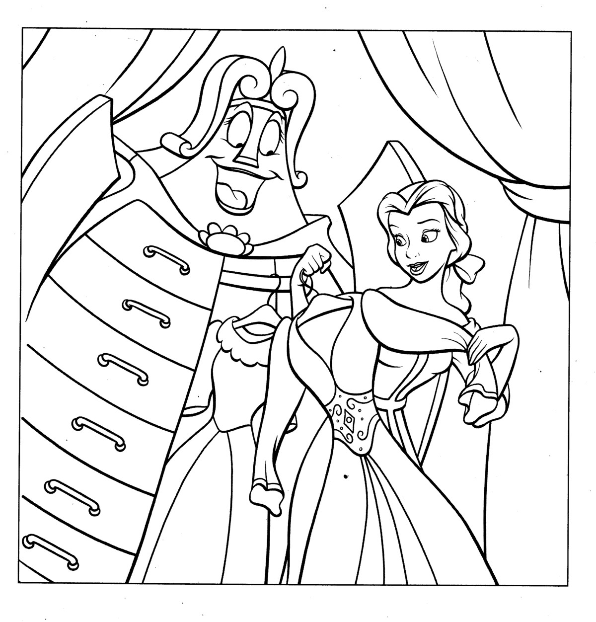 Belle Princess Coloring Pages For Kids Free Printable