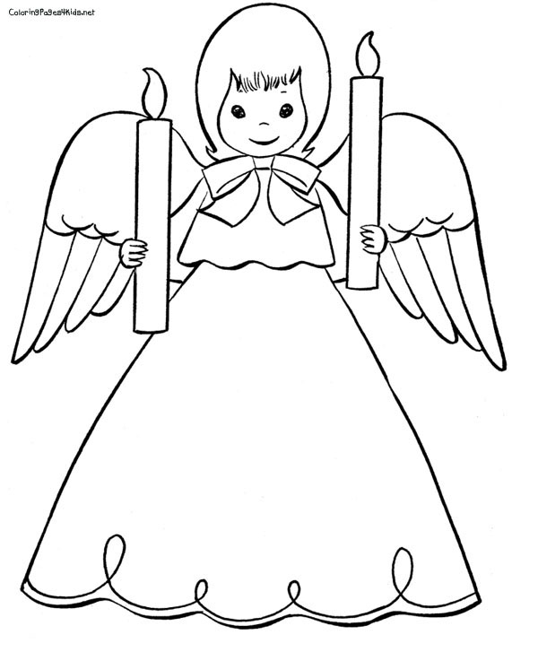 Free Angel Coloring Pages , letscoloringpages.com , Cute