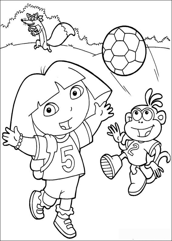 Soccer Dora the Explorer coloring pages Free Printable