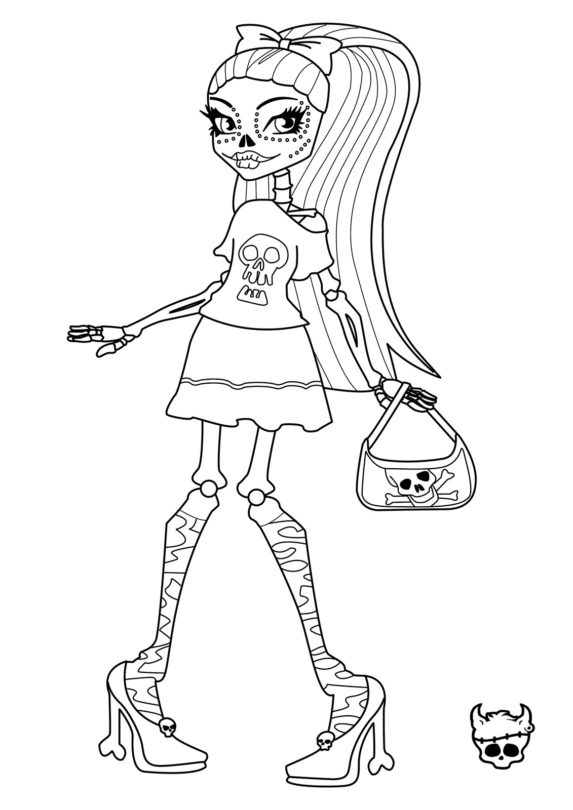 Tattoo Monster high skelita coloring pages Free Printable