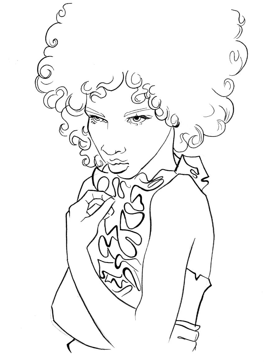 Black Hair Coloring Pages Hairstyles Haircuts Free