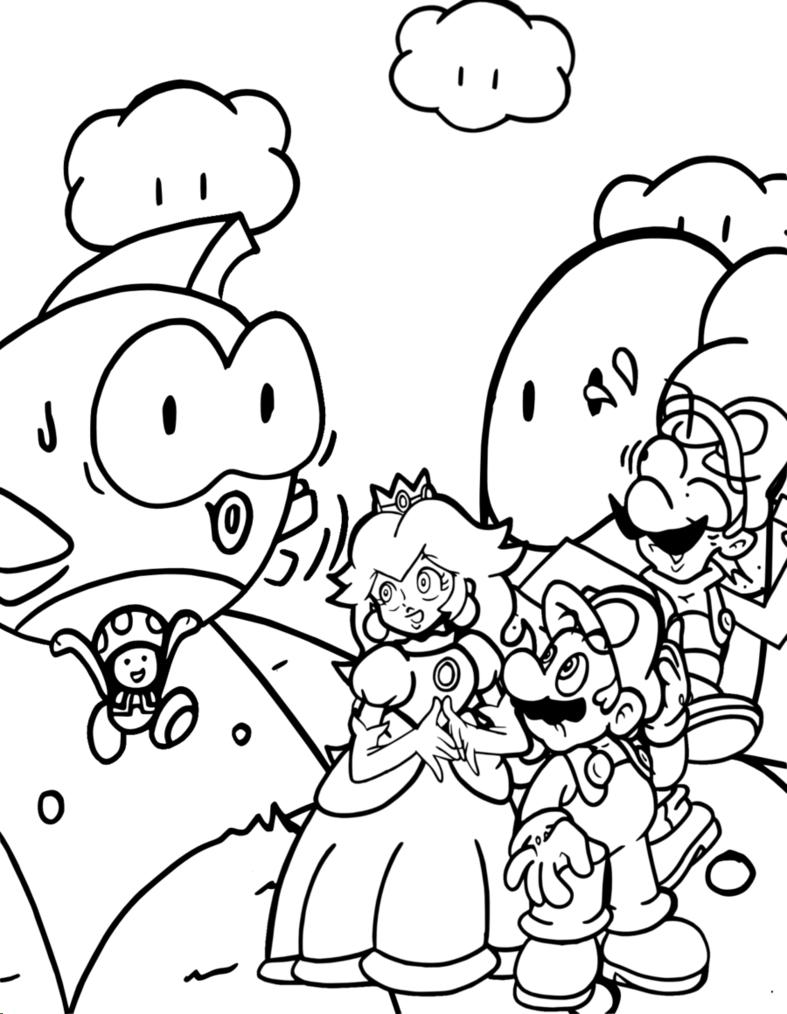 Princess With Mario Coloring Pages Mario Bros Games Mario Bros