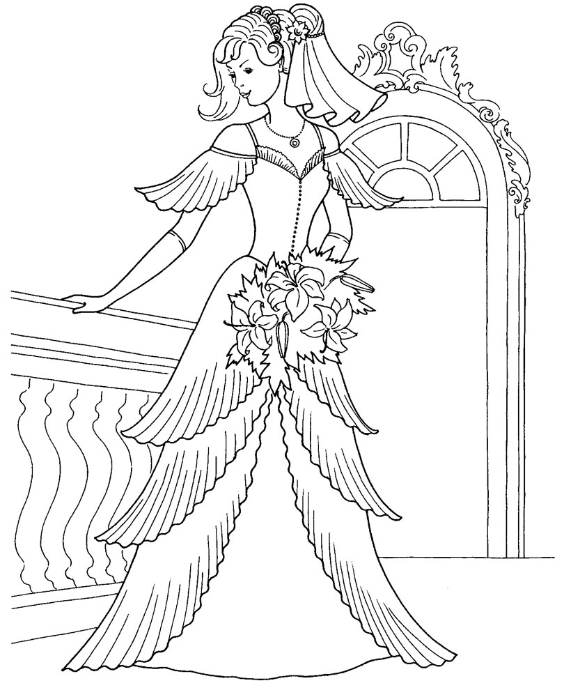 Wedding Princess Coloring Pages For Girls Free Printable Coloring