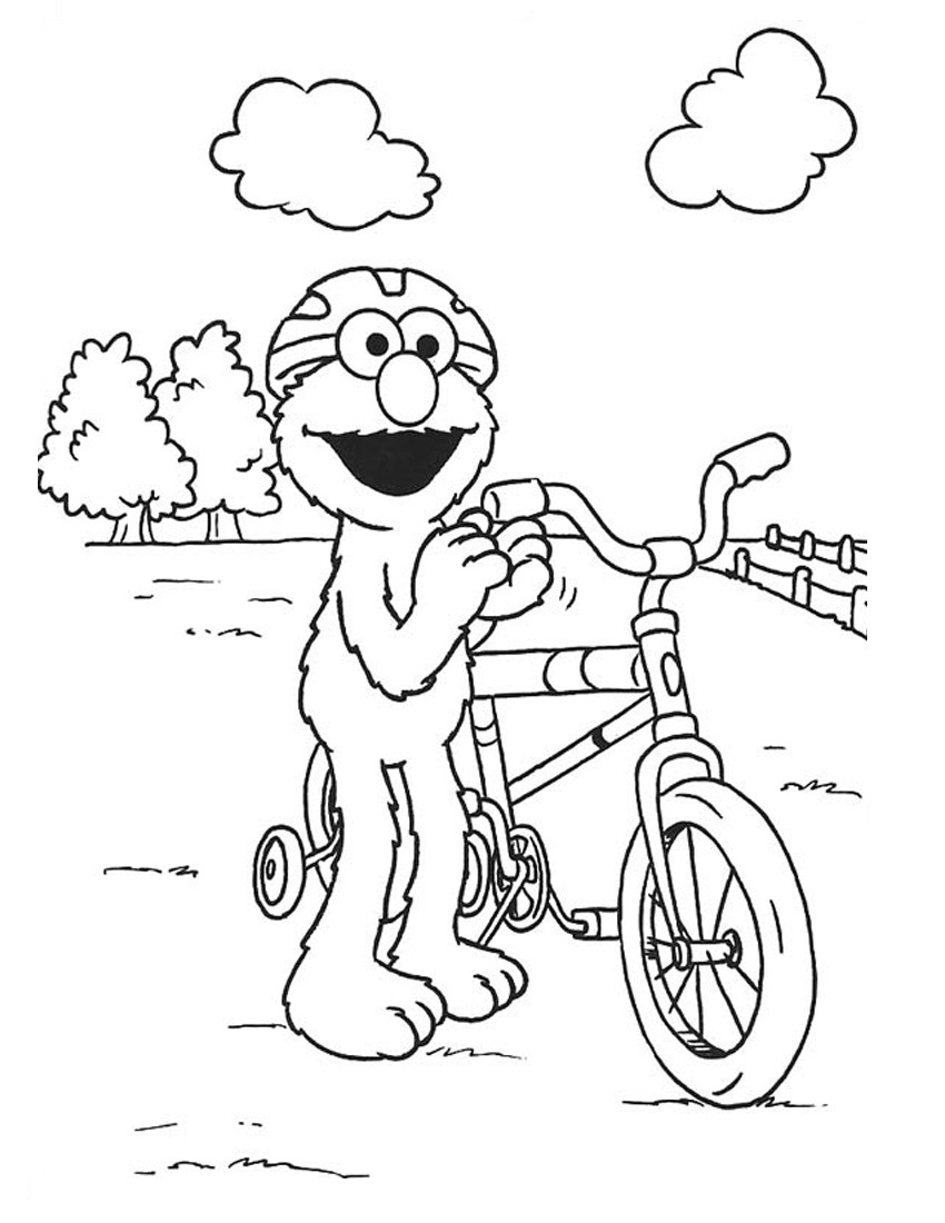 Bicycle Elmo coloring pages Free Printable Coloring Pages