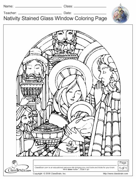 Church Stained Glass Coloring pages Free Printable