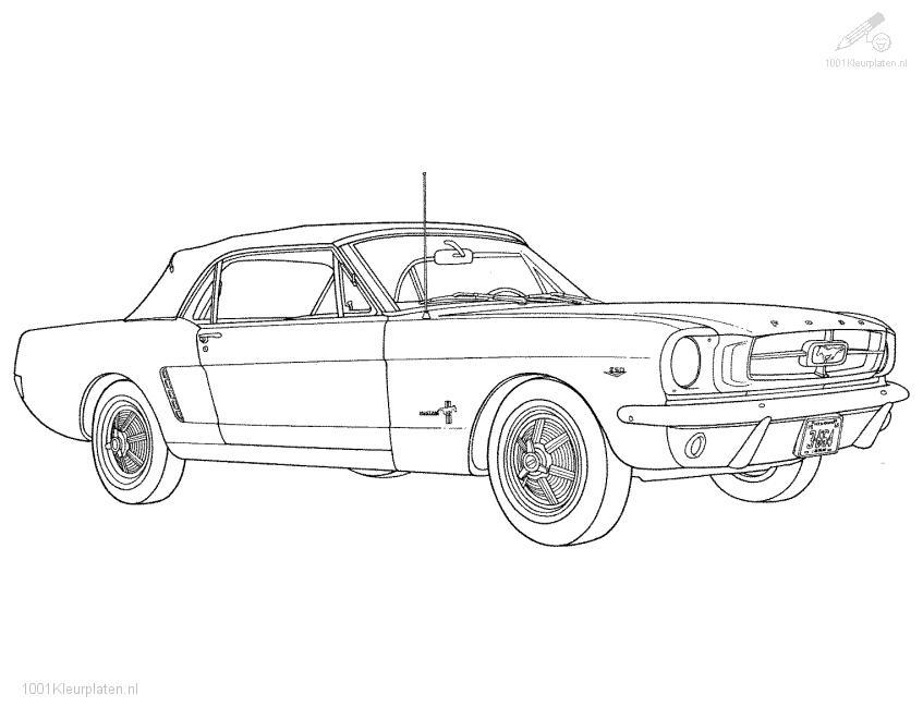 Old Ford Mustang Car Coloring pages Free Printable