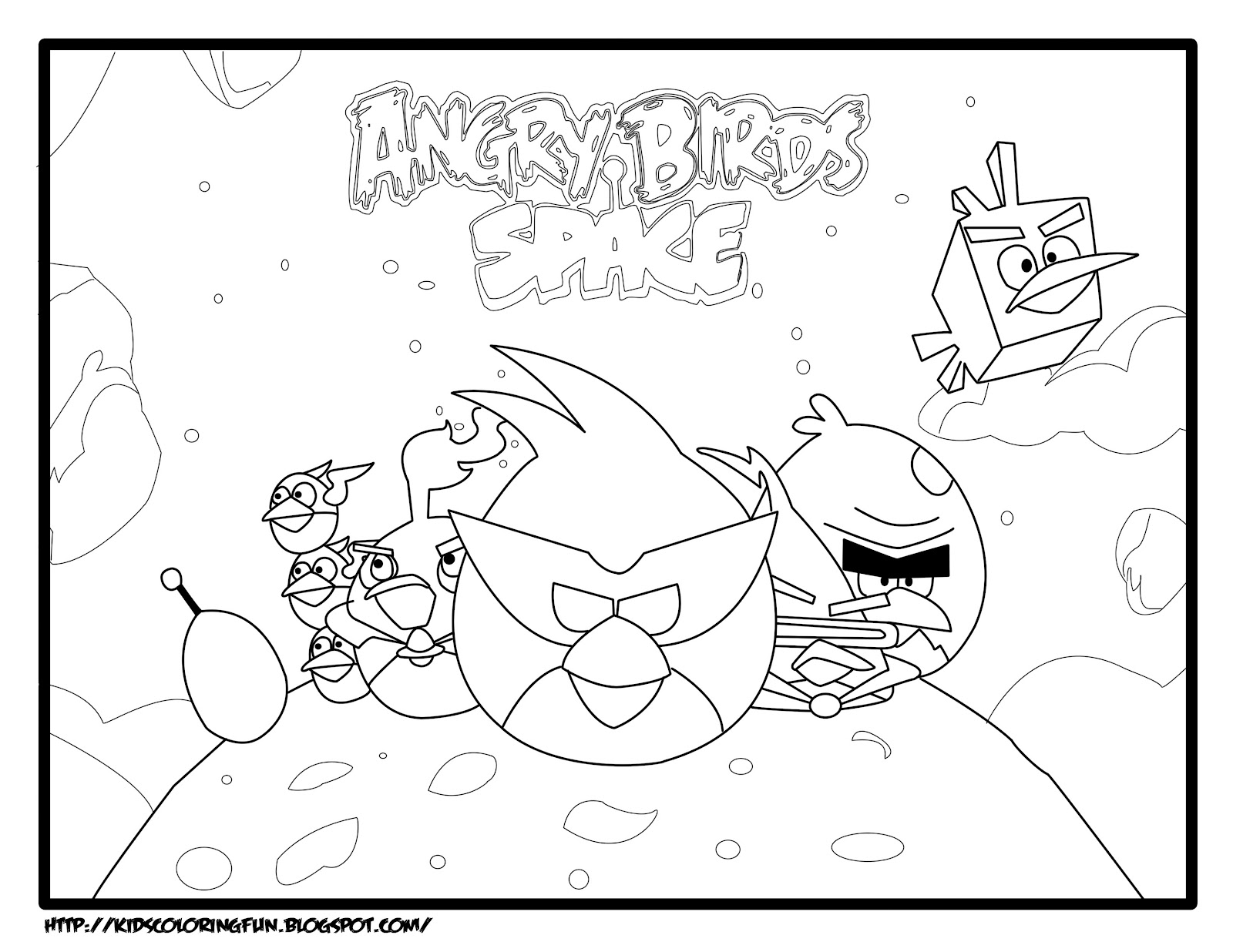 Space Angry Birds Coloring Pages Free Printable Coloring