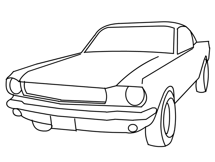 Vintage Ford Mustang Car Coloring pages Free Printable