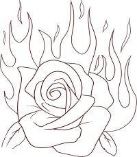 Rose Flame Flowers Coloring pages Free Printable Coloring ...