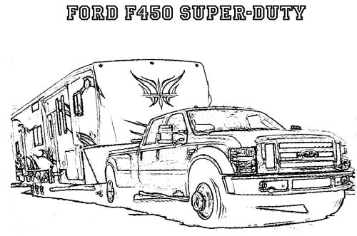 Ford F450 SUPER DUTY Truck Printable Coloring Pages for Kids