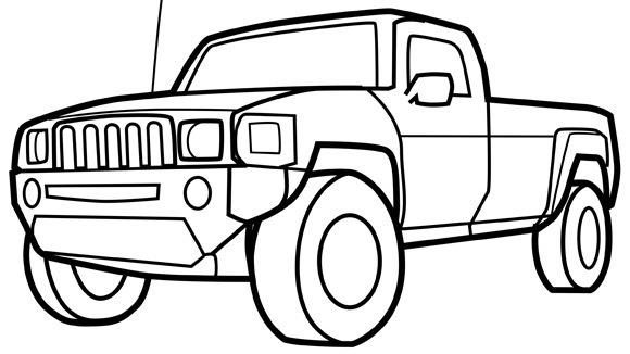 Hummer Truck Printable Coloring Pages for Kids