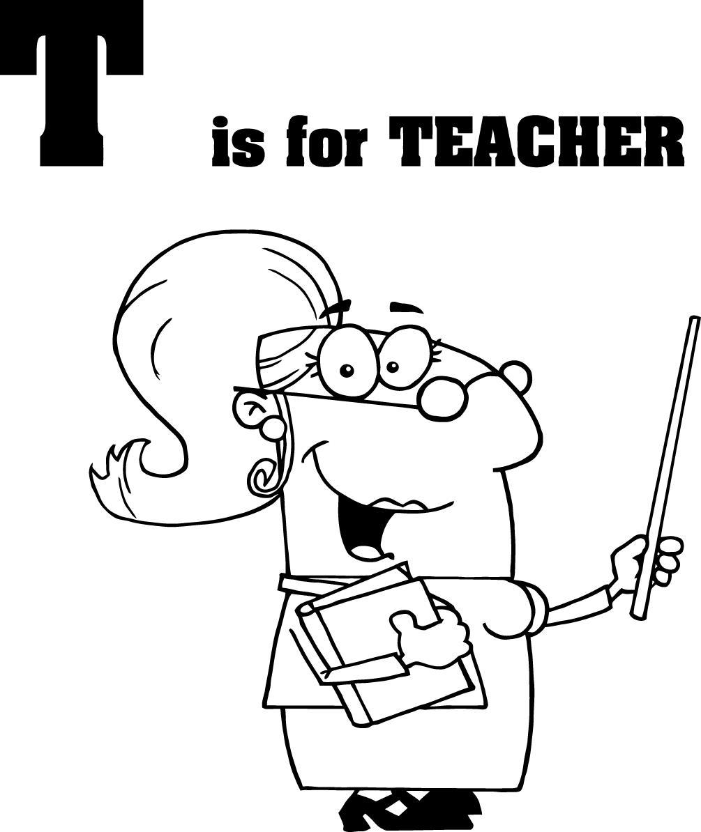 T for Teacher Coloring Online Pre school