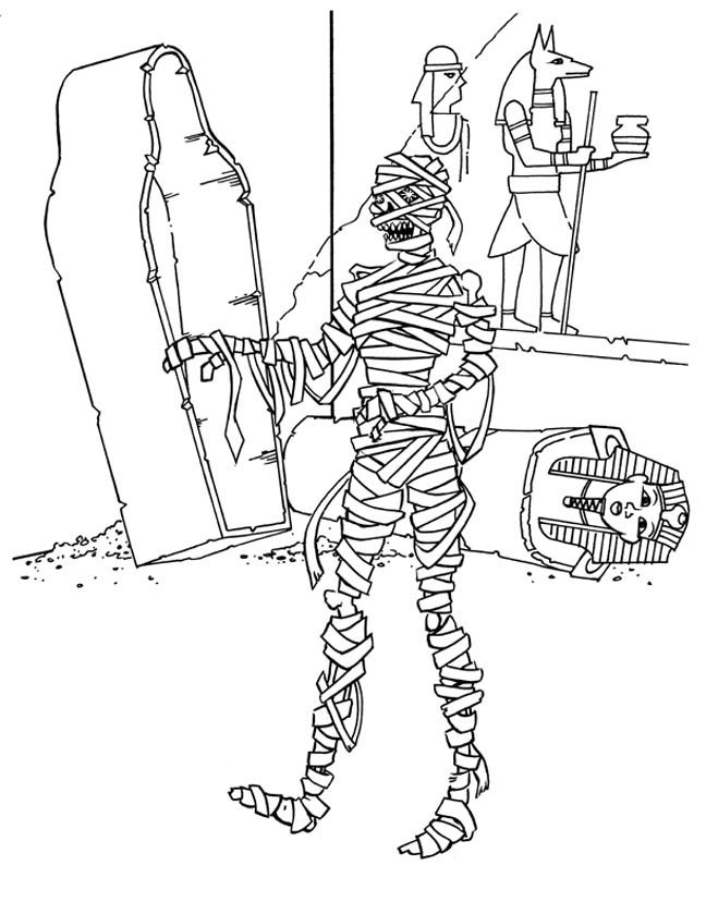 Egypt Mummy Print Coloring Pages Free Printable Coloring