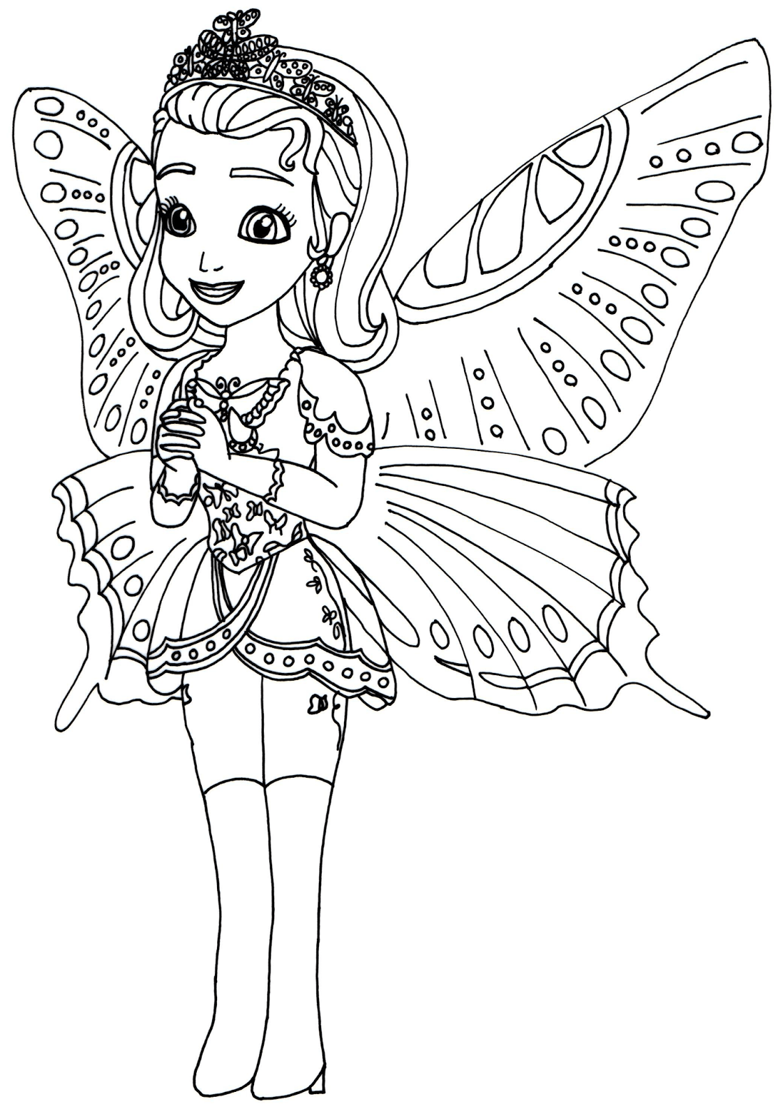 Princess Butterfly Halloween Costumes Print Coloring Pages Free