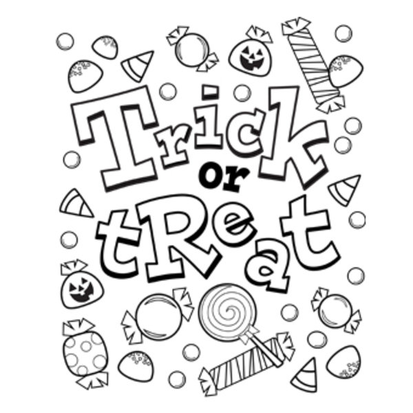 trick or treat bag candy halloween coloring pages free