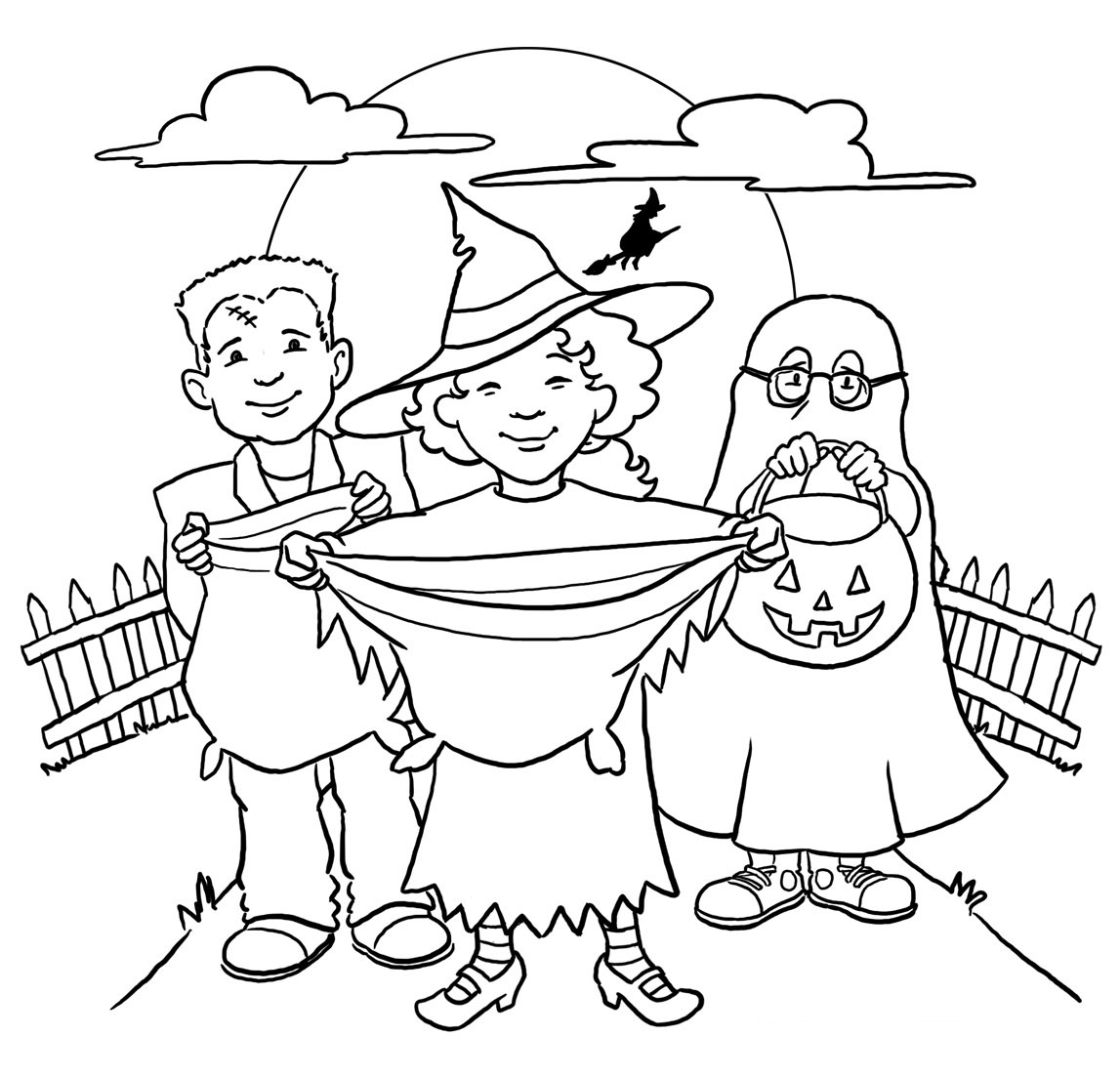 Trick Or Treat Bag Kids Halloween Coloring Pages Free