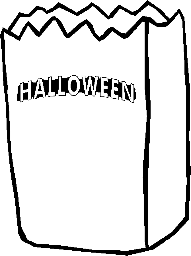 Trick or Treat Paper Bag Halloween Coloring Pages Free