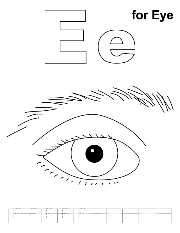 E for Eye Coloring Pages for Kids Free Printable Coloring