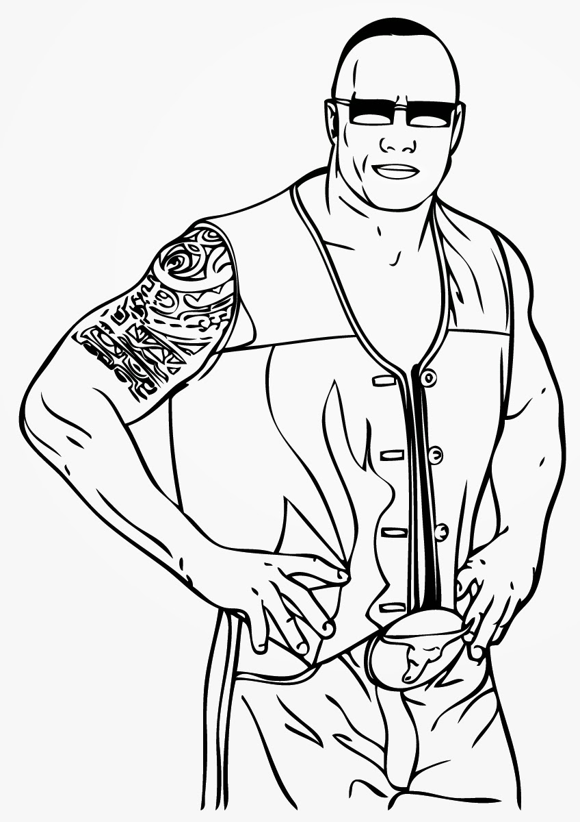 The Rock WWE Coloring Pages Free Printable Coloring Pages