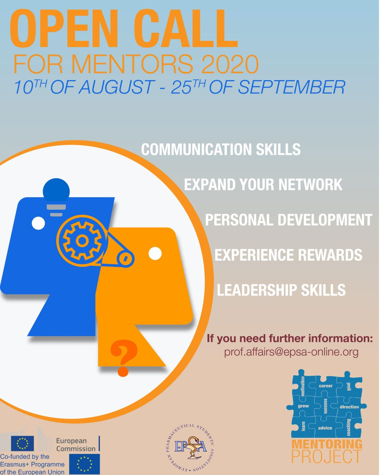 Open Call for mentors 2020 10th of August to 25th of September