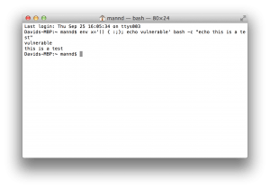 Script showing my Mac is vulnerable to ShellShock.