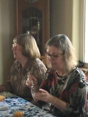 Janice Kabel and Virginia Felker enjoy some dessert