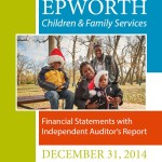 Cover of Epworth's 2014 Financial Audit Report with picture of the families kids wearing Santa Clause hats