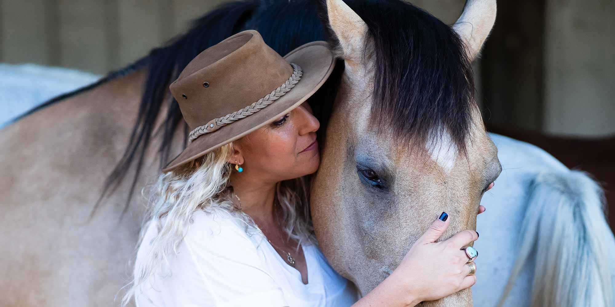 EQ Graphics   Gorgeous Portrait of an Andalusian Horse and Girl in Hat