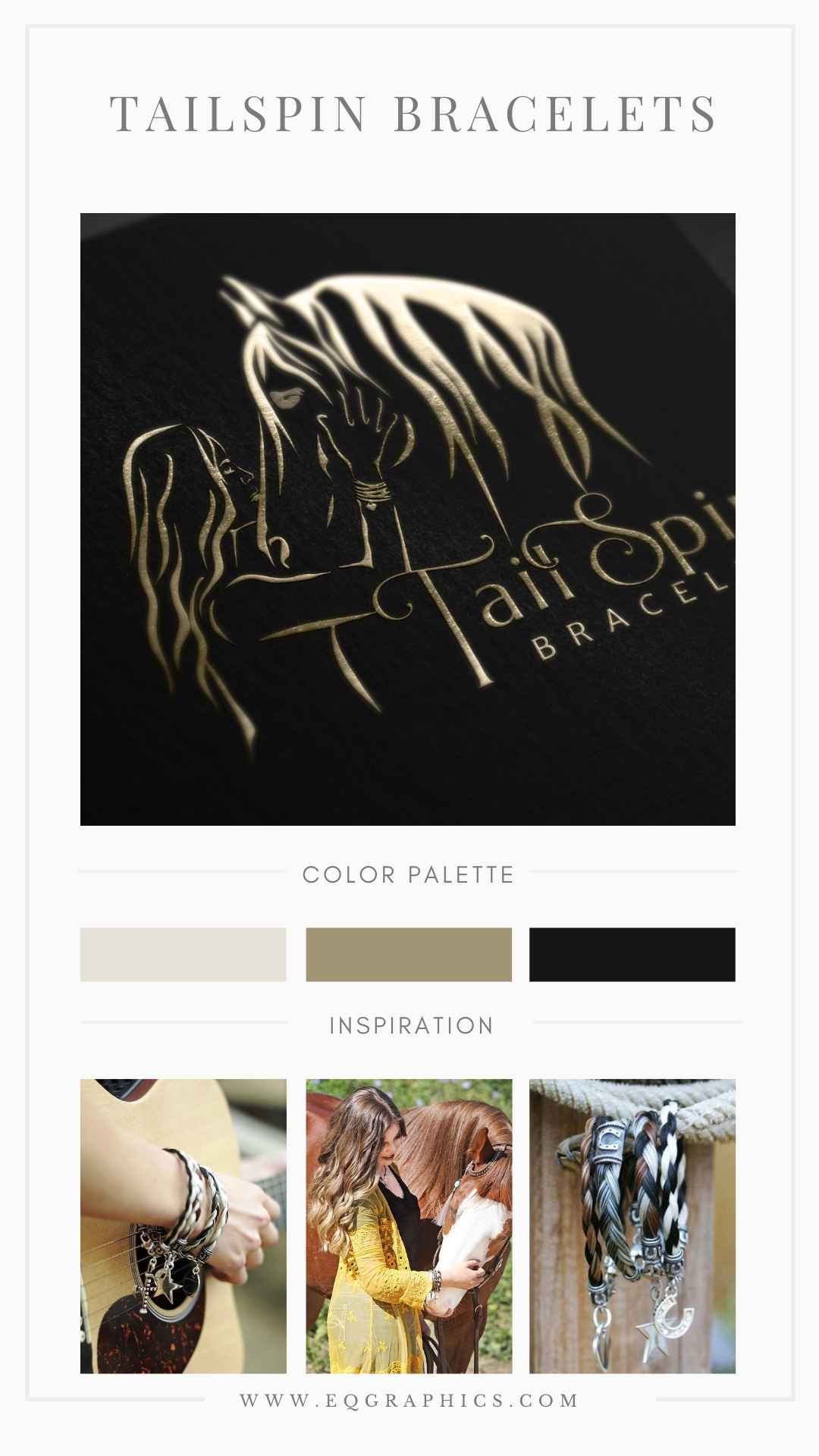 Horse and girl silhouette with Chic Branding Colors Accompany Equestrian Jeweler's Custom Logo