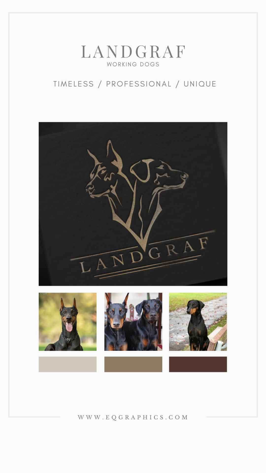 Doberman with cropped ears and natural ears dog logo design