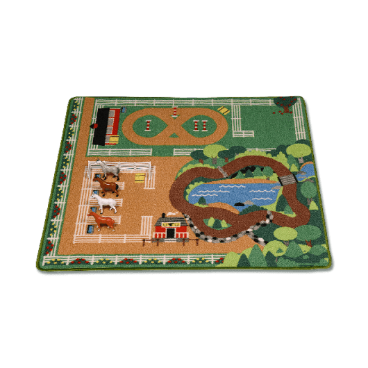 tapis de jeu ecurie avec figurines chevaux waldhausen