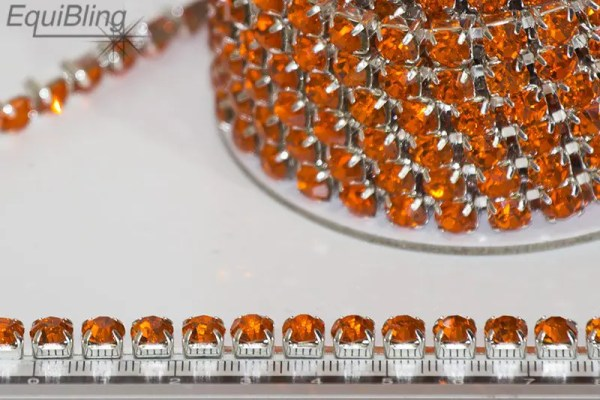 6mm strassketting oranje