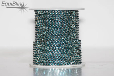 3mm strassketting blauw