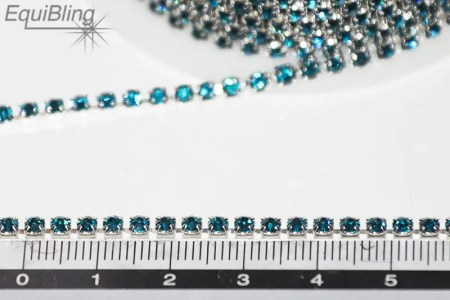 3mm strassketting blauw