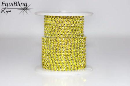 3mm strassketting geel