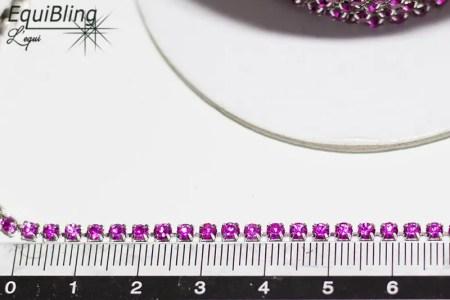 3mm strassketting fuchsia