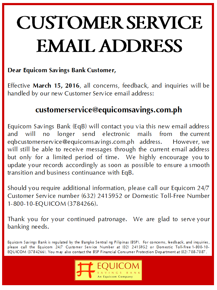 Security Bank Customer Service Email Address