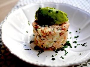 Tartare de saumon et sorbet avocat-coriandre ! Une recette fraîche, parfumée et originale !