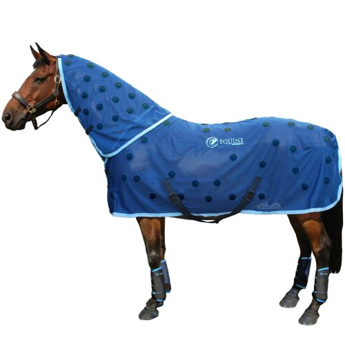 Magnetic horse rug with navy spots and cyan trim by Equine Magnetix